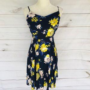 Old Navy Navy Floral Print Spaghetti Strap Dress